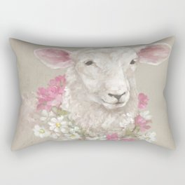 Sheep With Floral Wreath by Debi Coules Rectangular Pillow