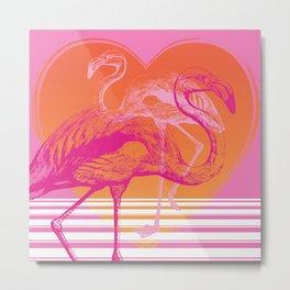 Flamingos at Sunset | Pink Flamingos | Vintage Flamingos | Two Flamingos | Flamingo | Modern Retro | Metal Print