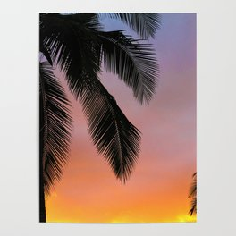 Sunset Silhouette Palm Tree (Color) Poster