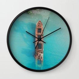Roatan Island Shipwreck Wall Clock