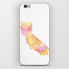 Typographic California - Orange Watercolor iPhone & iPod Skin