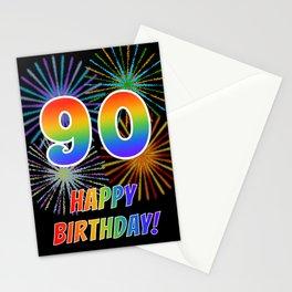 "90th Birthday ""90"" & ""HAPPY BIRTHDAY!"" w/ Rainbow Spectrum Colors + Fun Fireworks Inspired Pattern Stationery Cards"