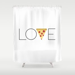 Love = Pizza Shower Curtain
