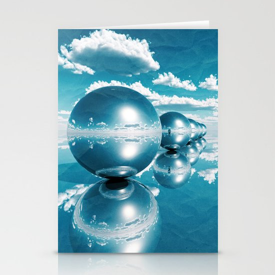 blue spheres in line paper Stationery Cards