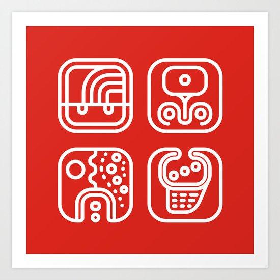 Mayan Glyphs ~ ABSTRACT Art Print