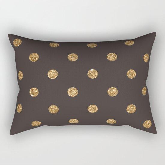 Dark Brown Gold Glitter Dots Rectangular Pillow