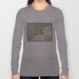 Vintage Map of The New England Coast (1747) Long Sleeve T-shirt
