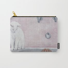 bath with a white cat Carry-All Pouch