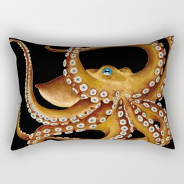 Brown Octopus Blue Eye Black Watercolor Rectangular Pillow