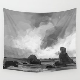 Sunset Ocean Watercolor (Black and White) Wall Tapestry