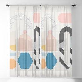Abstraction_Shapes Sheer Curtain