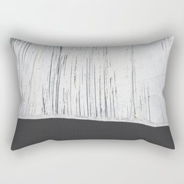Scratched White Plaster and Charcoal Grey Lined Pattern Rectangular Pillow