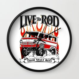 1969 GASSER VAN - RED Wall Clock