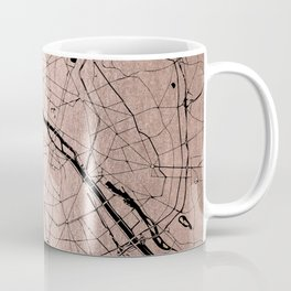 Paris France Minimal Street Map - Rose Gold Glitter on Black Coffee Mug