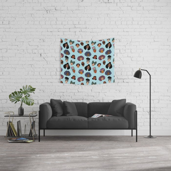 Black Hair Magic - Blue Wall Tapestry