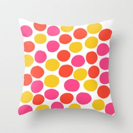 Bunte Punkte 003 / Mid-Century Modern Pattern Of Red, Pink & Yellow Dots Throw Pillow