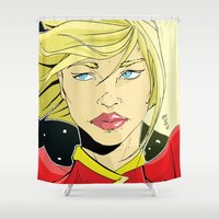 supergirl Shower Curtains featuring New 52! Supergirl by Jeremy Gonzalez