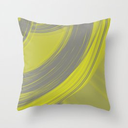 Gray semicircular sections of straw fabric with intersections of foggy ribbons. Throw Pillow