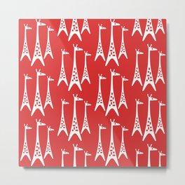 Mid Century Modern Giraffe Pattern 221 Red Metal Print