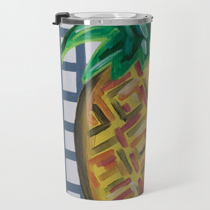Tropical Hawaiian Pineapple Abstract Painting Travel Mug