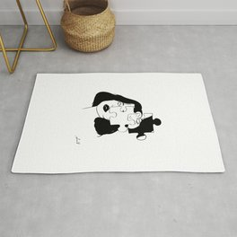 Puzzle Girl Abstract Black And White Art Rug