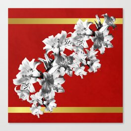 Lilies, Lily Flowers on Red Canvas Print