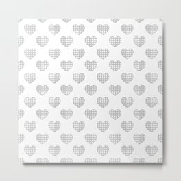 Gray and White Gingham Hearts on White Metal Print
