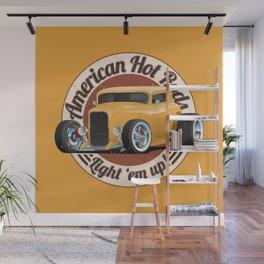 American Hot Rods Light 'Em Up Vintage Car Illustration Wall Mural