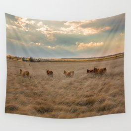 Cows Among the Grass - Cattle Wade Through a Field in Texas Wall Tapestry