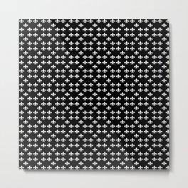 FLEUR DE LIS WHITE ON BLACK Metal Print