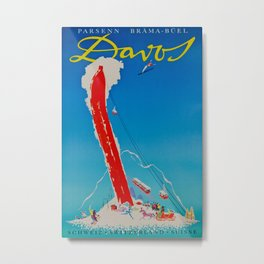 Davos Switzerland Ski Travel Metal Print