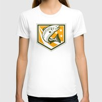 trout T-shirts featuring Trout Jumping Retro Shield by patrimonio