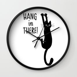 Hang in There! Funny Black Cat Hanging On Wall Clock
