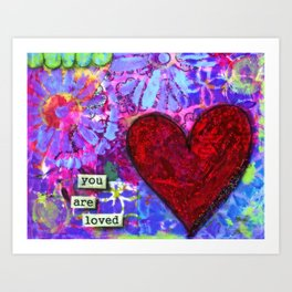 Love, Valentine's Day, Family, Heart, You are Loved Painting, Red Heart, Lavender, Blue, Green Art Print