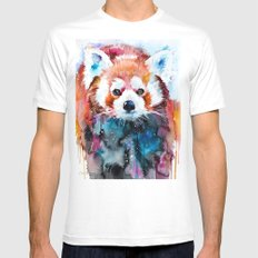 Red panda X-LARGE White Mens Fitted Tee