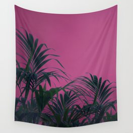 Pink Sunset Palm Wall Tapestry