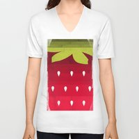 strawberry V-neck T-shirts featuring Strawberry by Kakel