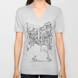 Brussels Streetscape Unisex V-Neck