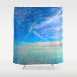 Frosty Window Above Clouds Shower Curtain