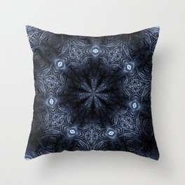 Blue Eyes Mandala Throw Pillow