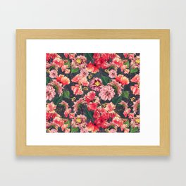 Vintage Flowers and Bees Framed Art Print