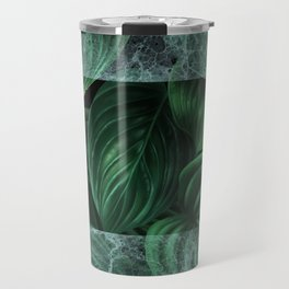 tropical green pattern on black Travel Mug