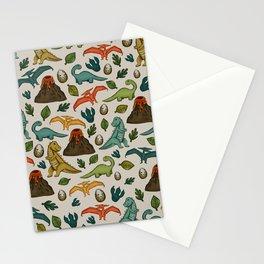 Dinosaur Print, Dino, Jurassic, Jurassic Art, Fossils, Volcanos, T-Rex, Cream Stationery Cards