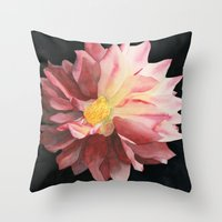 dahlia Throw Pillows featuring Dahlia by Powers Fine Art Watercolor Studio