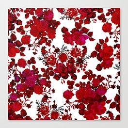 Botanical romantic red black elegant roses floral Canvas Print