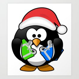 Penguin with Gifts Art Print