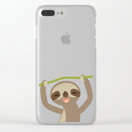 funny and cute smiling Three-toed sloth on green branch Clear iPhone Case