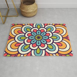 Mandala, Colorful Abstract Flower Rug