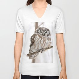 Boreal owl with prey Unisex V-Neck