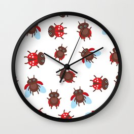 Funny insects ladybugs pattern on white background Wall Clock